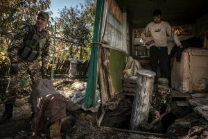 Cluster munitions casing that landed in a shed in eastern Ukraine. Photo by Sergey Ponomarev for The New York Times