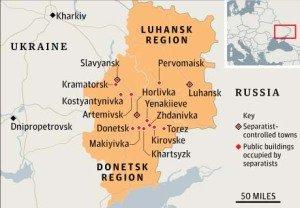 Map of Lugansk and Donetsk regions of eastern Ukraine