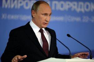 President Vladimir Putin speaks in Sochi, Russia on Oct 24 to the 11th conference of the Valdai Discussion Club, photo RIA Novosti, Mikhail Voskresenskiy