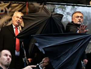 Czech Republic President Milos Zeman is pelted by protesters in Prague on Nov 17, 2014  during commemoration of the 'Velvet Revolution' of 1989, photo by Petr David Josek-AP