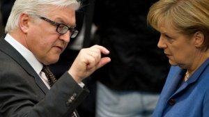 German Foreign Minister Frank-Walter Steinmeir and Chancellor Angela Merkel