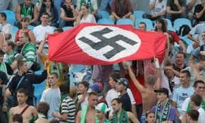 Nazi flag during a football match between Dynamo Kyiv and Karpaty in Kiev, photo by Ukrinform-AP