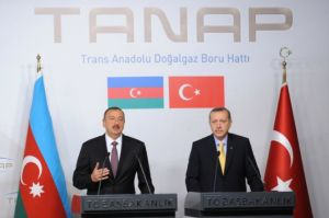 Turkish Prime Minister Recep Tayyip Erdogan, right, and Azerbaijan President Ilham Aliyev at the signing ceremony for the TANAP pipeline in 2012, photo by Office of the President of Azerbaijan