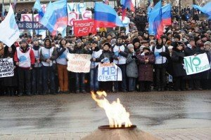 2,000 people rally in Luhansk against the blockade of the Ukraine government and army, photo from Facebook