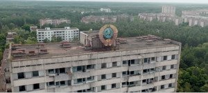 Chernobyl, Ukraine, abandoned following 1986 nuclear disaster, as seen from the air in Nov 2014