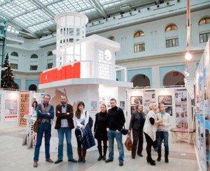 Crimea pavilion at Zodchestvo festival of architecture, Moscow Dec 2014, Alexei Komov is 2nd from left, photo Vera Graziadei