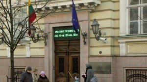Digital clock at Bank of Lithuania in Vilnius displays countdown until Lithuania adopts euro on Jan 1, 2015