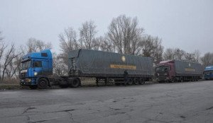 Humanitarian convoy blocked on a checkpoint near Donetsk on 18 December, 2014, photo by Rinat Akhmetov Foundation