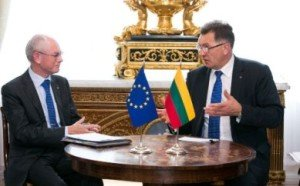 Lithuania Prime Minister Algirdas Butkevičius meets with then-President of the European Council, Herman Van Rompuy, in 2012, photo by Gov't of Lithuania