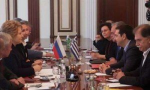 Alexis Tsipras meets with Valentina Matviyenko, head of Russia's Federation Council (upper house of Parliament) in Moscow in May 2014