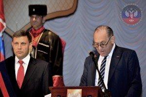 Boris Litvinov, left, speaking at investiture of Alexandr Zakharchenko, prime minister of DPR, Nov 5, 2014