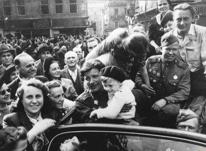 Liberation of Prague, Czechoslovakia in May, 1945. Entry of the Red Army into the city was preceded by a popular uprising