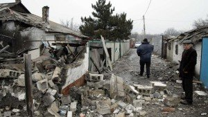 Shelling in Donetsk, Jan 2015, photo by AFP