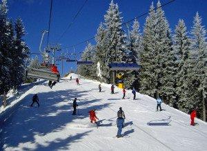 Skiing in the Carpathian Mountains of western Ukraine