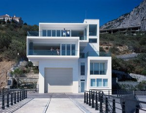 Yacht house, designed by firm of Robin Monotti, part of tourism complex in Foros, Crimea