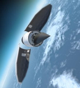 Computer image of a U.S. hypersonic test vehicle. Black warhead detaches and plunges back to Earth.  Image from Lockheed Martin website