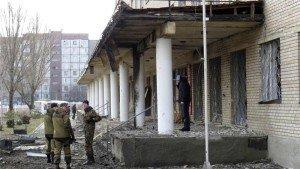 Hospital in Donetsk struck by shells on Feb 4, 2015, killing five people, photo on Al Jazeera