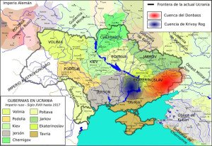 Map of Ukraine in 1917 with today`s borders overlaid