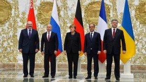 Official photo of ceasefire talks in Minsk, Belarus on Feb 11, 2015