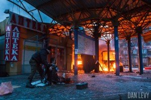 Shelling of bus depot in Donetsk on Feb 11, 2015, photo on Facebook page of Dan Levy