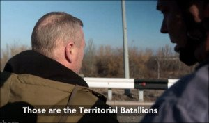 Bloomberg journalist Ryan Chilcote (L) and his guide, 'Crimea'