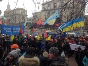 Moscow's agents? Coal miners from western Ukraine protest in Kyiv at the end of January 2015, demanding payment of unpaid wages and protection of their industry, photo from Twitter