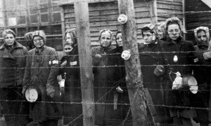Female prisoners at Ravensbrück concentration at the time of liberation by the Soviet Army in 1945