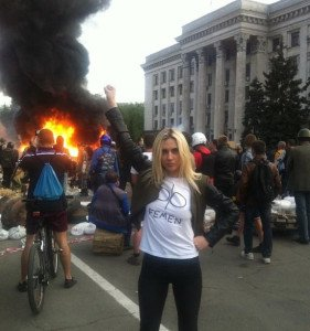 Femen leader Evgeniia Kraizman at the scene of the Odessa Massacre