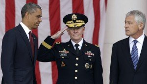 In 2013 photo (L to R), U.S. President Barack Obama, Chairman of the Joint Chiefs of Staff U.S. Army General Martin Dempsey, and then-U.S. Defense Secretary Chuck Hagel, photo by Jonathan Ernst, Reuters