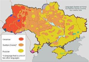 Language map of Ukraine, 2009