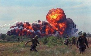 Napalm strike by U.S. warplanes in South Vietnam, 1966, photo by AP