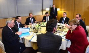 Special roundtable meeting on Greece's financial debt in Brussels on March 19, 2015, photo by Emanuel Dunland, EPA