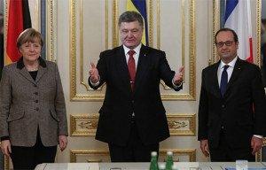 Three amigos in Kyiv on Feb 5, 2015--Merkel, Poroshenko, Hollande, photo by  Roman Pilipey, EPA