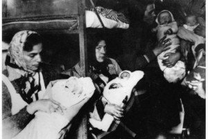 Ukrainian and Russian mothers and babies in Ravensbrück  right after the camp's liberation by the Soviet Army, image from Brandenburg Memorial Foundation