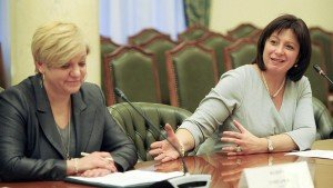 Ukrainian finance minister Natalie Jaresko, right, with Valeriya Hontaryeva, chairman of National Bank of Ukraine, photo by AFP