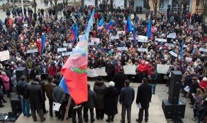 Unions in Luhansk protest Ukraine's economic blockade against their region, March 23, 2015 2