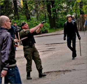 Fascists firing on citizens at the trade union building in Odessa on May 2, 2014