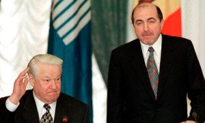 Former Russian president Boris Yeltsin (R) and Boris Berezovsky, who died in 2013