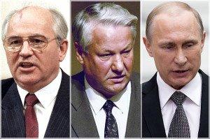 Mikhail Gorbachev, Boris Yeltsin, Vladimir Putin (photos by Boris Yurchenko and Alexander Zemlianichenko, AP)