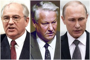 Mikhail Gorbachev, Boris Yeltsin, Vladimir Putin (photos by Boris Yurchenko and Alexander Zemlianichenko, AP)