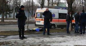 Scene of murder of politician Oleh Kalashnikov in Kyiv on April 16, 2015 (Seregei Kozlov, Sputnik)
