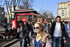 Street scene in Kyiv (photo by Vincent Mundy, Bloomberg(