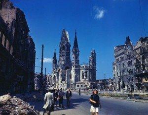 Kaiser Wilhelm Memorial Church and surrounding ruins in Berlin in summer 1945