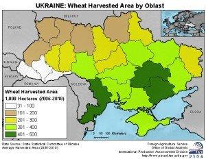 Ukraine's wheat harvest by area, 2006-10