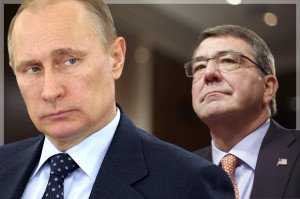 Images of Vladimir Putin and U.S. Defense Secretary Ashton Carter (Salon.com)