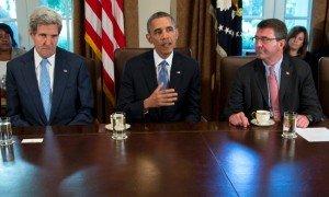 L to R, John Kerry, Barack Obama, Defense Secretary Ashton Carter