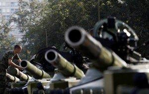 Ukrainian military vehicles (AP)