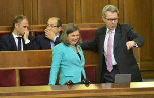 Assistant Secretary of State for European and Eurasian Affairs Victoria Nuland and U.S. Ambassador to Ukraine Geoffrey Pyatt in Ukraine Rada on July 16, 2015