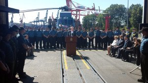 Canadian Prime Minister Harper speaks to sailors from the warship HMCS Fredericton in Poland, June 10 (Josh Wingrove, Bloomberg)