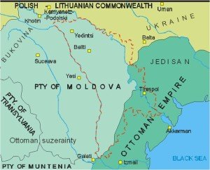 Map showing historic Moldova during the 1600s, including Bessarabian capital city of Izmail. Red, dotted lines are present day border of Moldova and Transnistria with Romania (west) and Ukraine (east and south), (map Andrew Anderson, 2005)